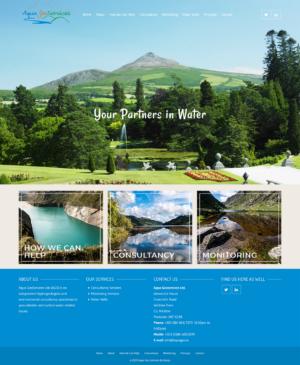 Screen Capture of Brochure Website made with WordPress for Aquageo.ie