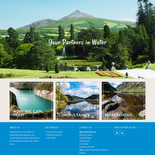 Screen Capture of Brochure Website made with WordPress for Aquageo.ie