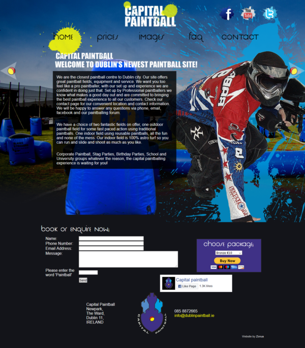 custom made website for an Irish paintball company by zomua