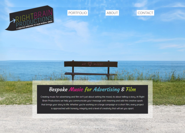 custom made website for right brain productions by zonua