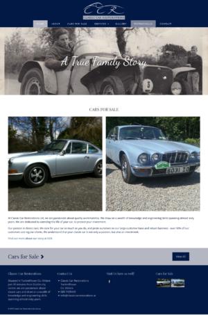wordpress website for classic car restorations made by zonua