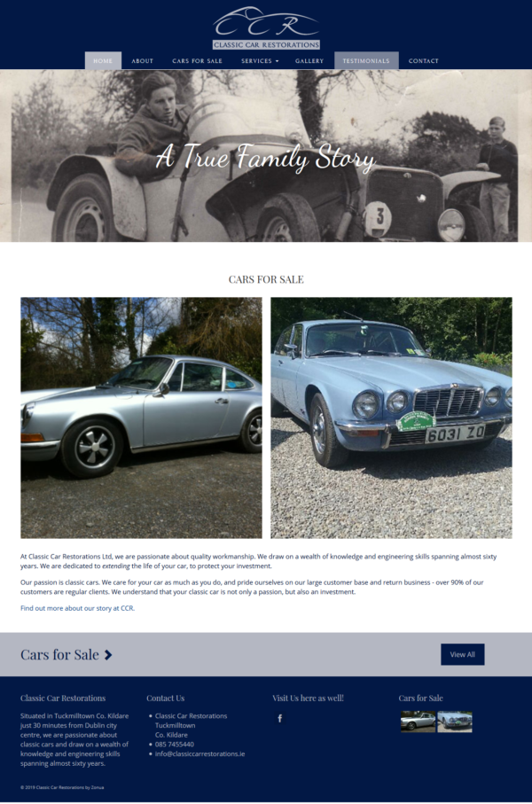 wordpress website for classic car restorations made by zonua