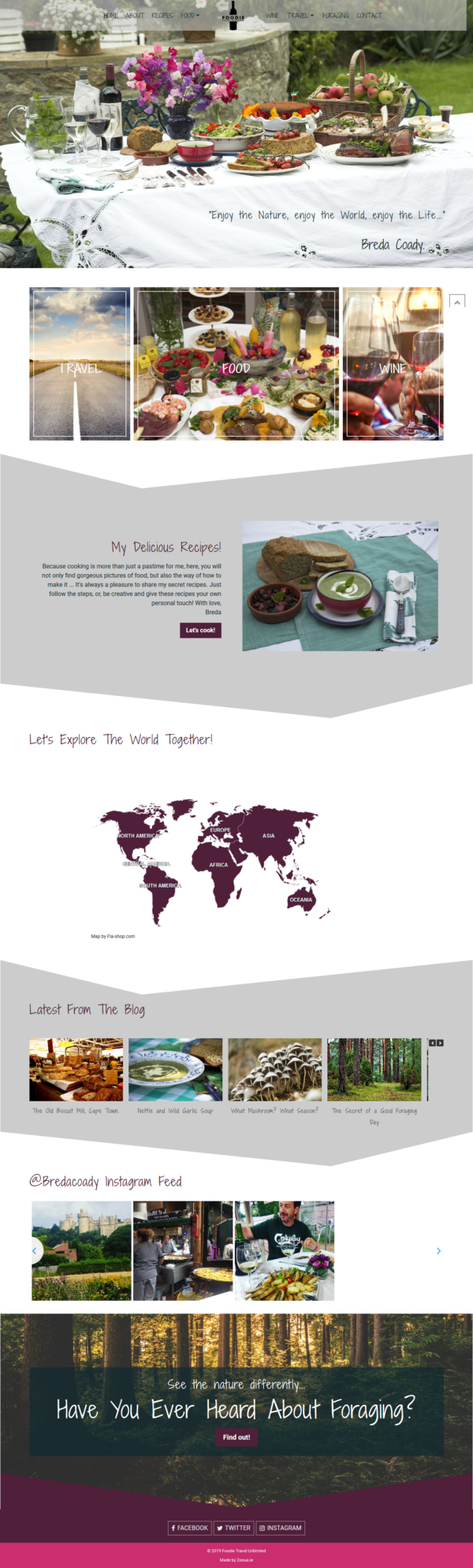 wordpress website for food and travel blogger by zonua
