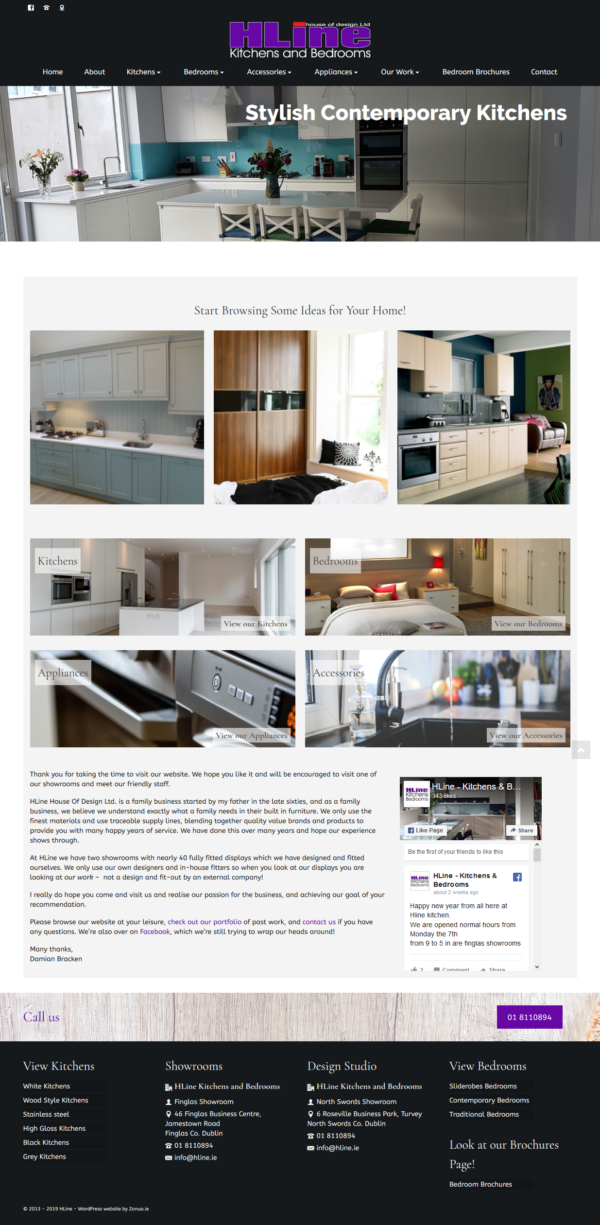wordpress website for kitchen and bedroom installer by zonua